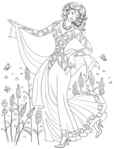женщина в платье с узорами