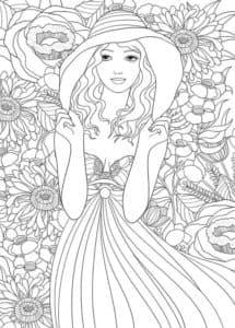 девушка и цветы раскраска детская антистресс