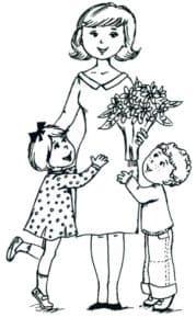 женщина с букетом и дети