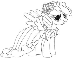 Рейнбоу Дэш с цветами на голове