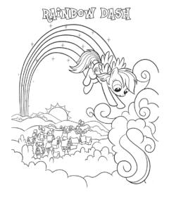 Рейнбоу Дэш в облаках