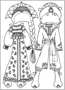 русские народные костюмы детская раскраска
