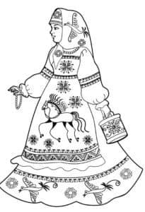 женщина в платье с жар птицами