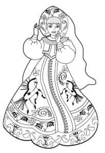 Женщина в костюме с кокошником