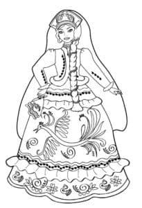 девочка с косой в платье раскраска
