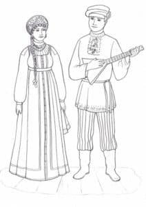 мужчина с балалайкой и женщина