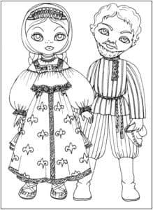 дети в костюмах раскраска
