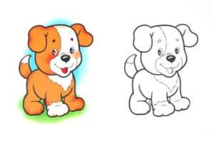 раскраска щенок с цветным образцом