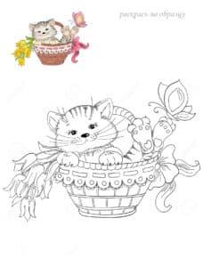 раскраска котик с цветным образцом