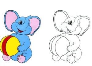 раскраска слоник с мячом с цветным образцом