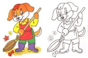 раскраска собака с метлой с цветным образцом