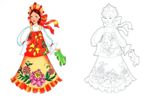 раскраска девушка с цветным образцом