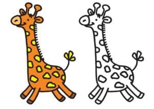 раскраска жираф с цветным образцом