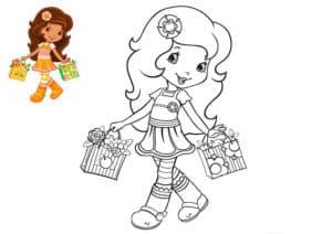 раскраска девочка с цветным образцом