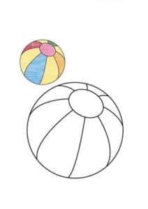 раскраска мяч с цветным образцом