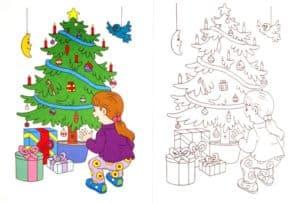 раскраска новогодняя елка с цветным образцом