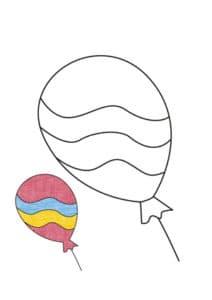 раскраска воздушный шар с цветным образцом