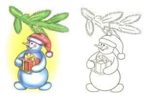 раскраска снеговик с подарком с цветным образцом