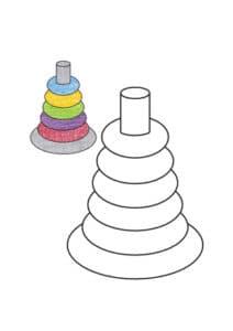 раскраска пирамидка с цветным образцом