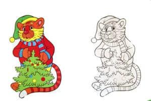 раскраска львенок с елкой с цветным образцом