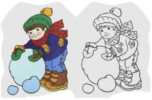 раскраска ребенок с снегом с цветным образцом