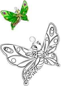 раскраска бабочка с цветным образцом