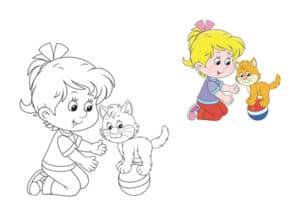 раскраска девочка с кошкой с цветным образцом