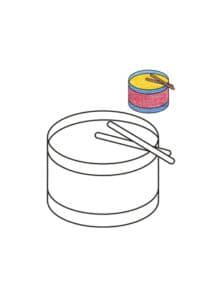 раскраска барабан с цветным образцом