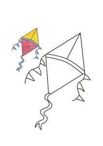 раскраска воздушный змей с цветным образцом