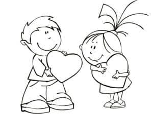 мальчик дарит сердечко