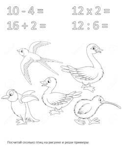 птицы раскраска с примерами для детей