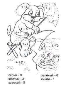Собачка на рыбалке раскраска с примерами