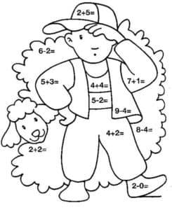 Мальчик и барашек раскраска с примерами