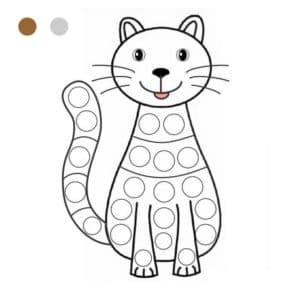 котенок раскраска для пальчиков