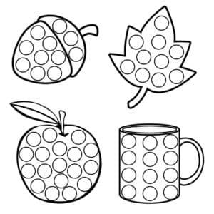 яблоко желудь лист клена и чашка