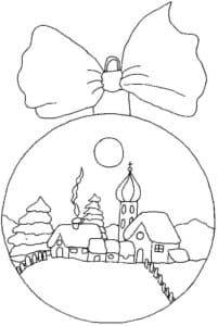 новогодний шар с домами