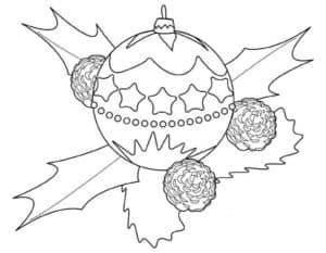 новогодний шар и листья