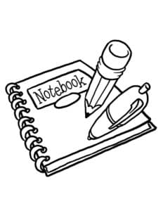 тетрадка и карандаш с ручкой