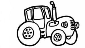 синий трактор трафарет