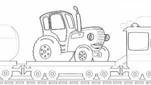 синий трактор едет на поезде