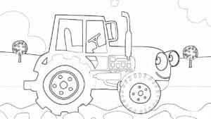 синий трактор улыбается