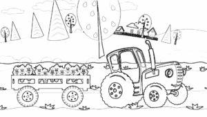 синий трактор везет деревья