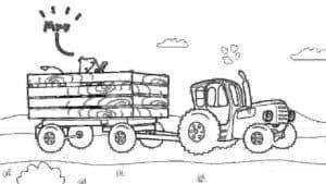 синий трактор и корова в прицепе
