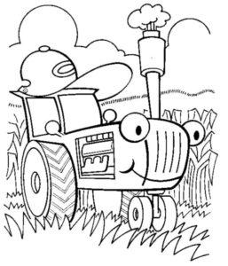синий трактор в кепке