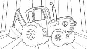 синий трактор с ковшом