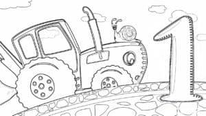синий трактор и цифра 1