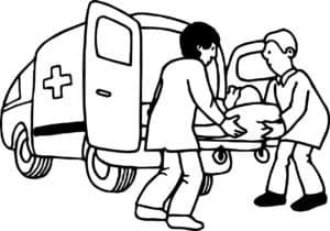 Санитары закатывают каталку в скорую помощь