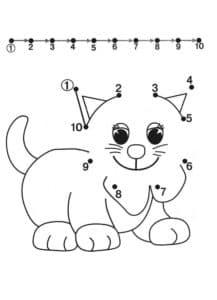 раскраска кот соедини точки по цифрам