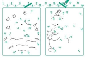 снеговик соедини точки по цифрам