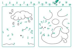 раскраска дождь соедини цифры
